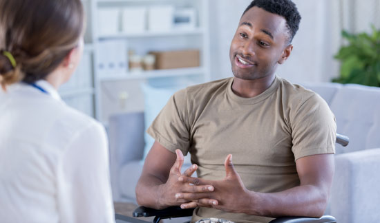 Caring therapist counseling patient