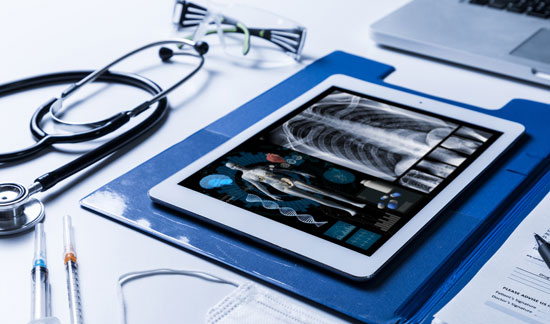 X-Rays, stethoscope and laptop